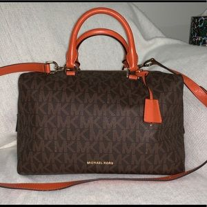 MICHAEL KORS brown/orange satchel with wallet